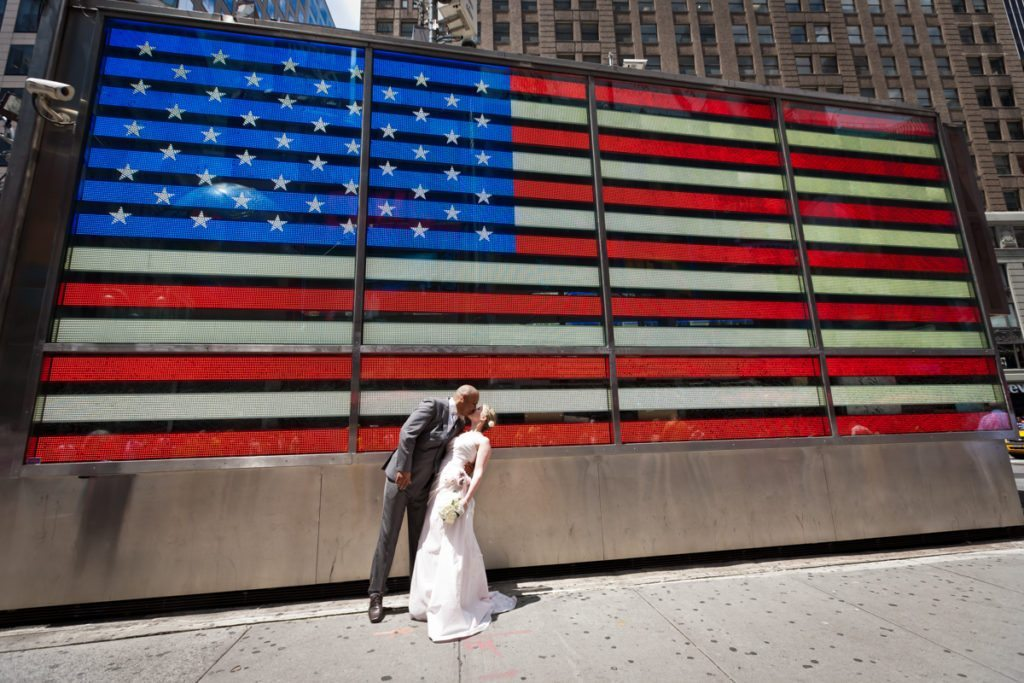 Brian and Niki's wedding photos in Times Square by NYC wedding photojournalist, Kelly Williams