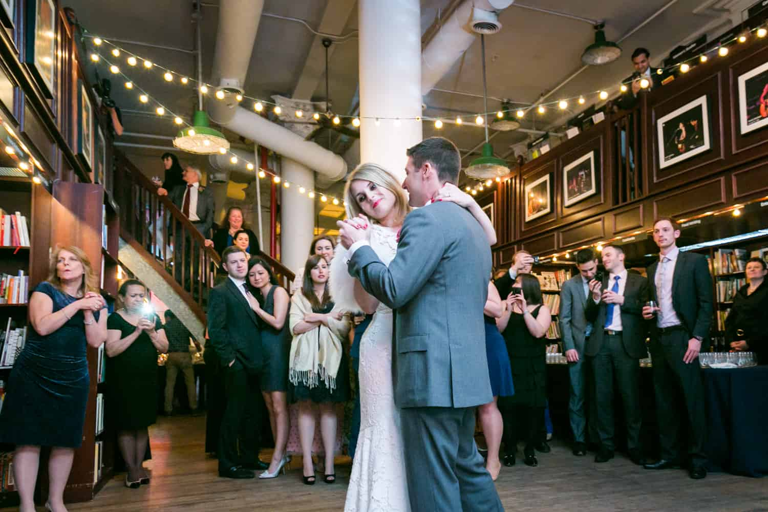 Bride and groom during first dance at a Housing Works wedding