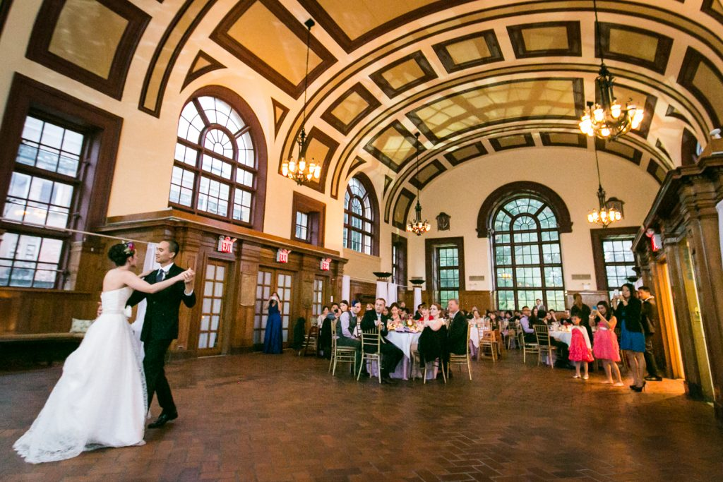 Bride and groom first dance in Great Hall Ballroom at a Snug Harbor wedding
