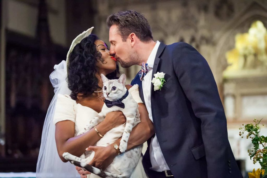 Couple kissing with bride holding cat for an article on tips for including your pet in your wedding