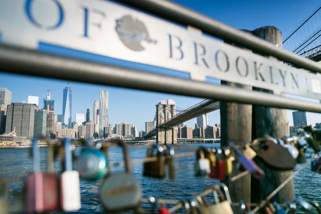 View of Brooklyn Bridge through locks at Brooklyn Bridge Park deck
