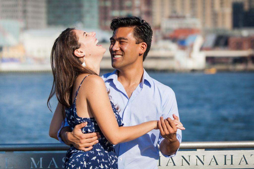 Couple dancing at Brooklyn Bridge Park