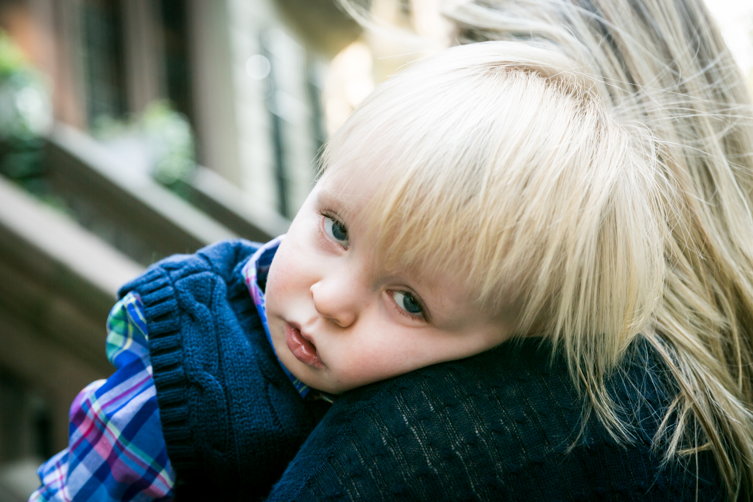 Central Park family photos of little blond boy looking ill