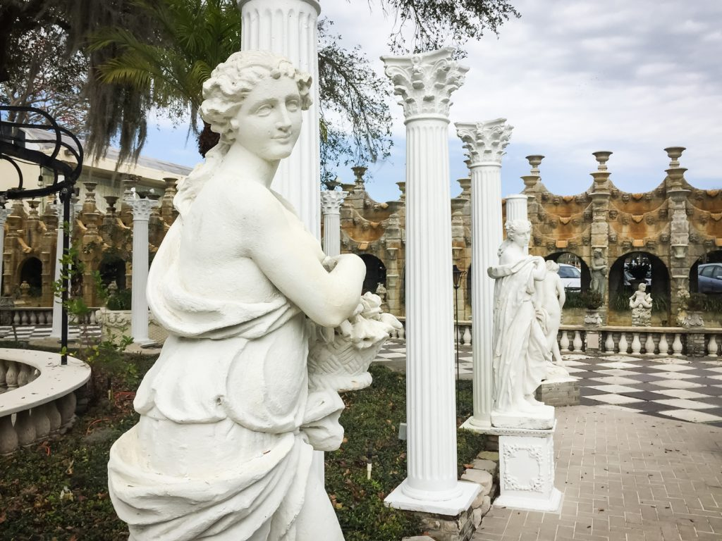 Statues and columns outside the former Kapok Tree restaurant in Clearwater, Florida