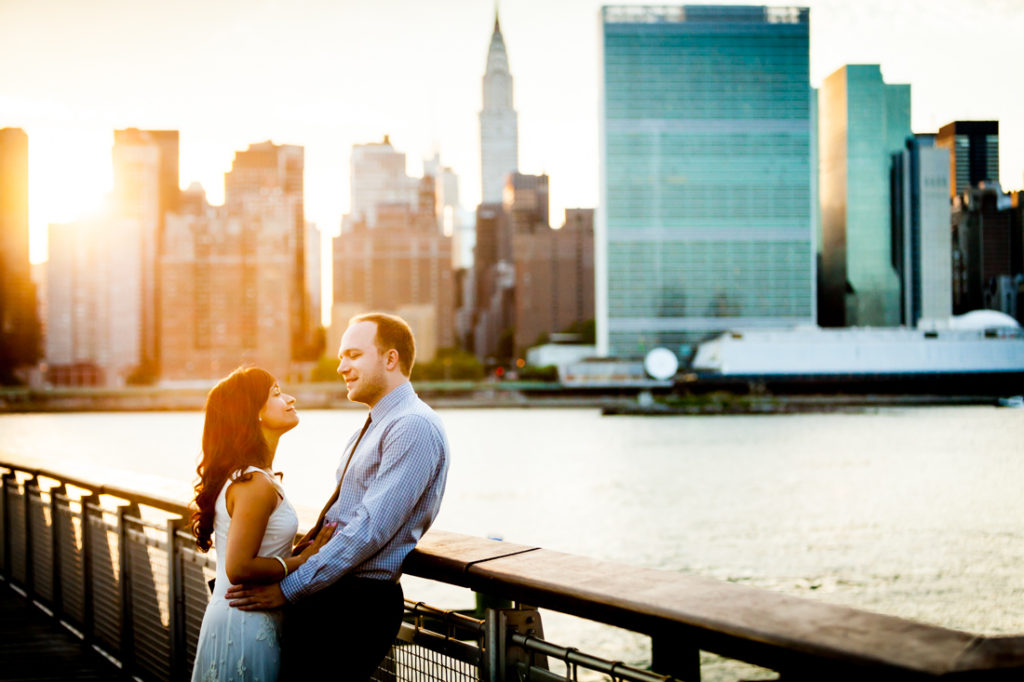 Couple at Gantry Plaza State Park for an article on best engagement photos