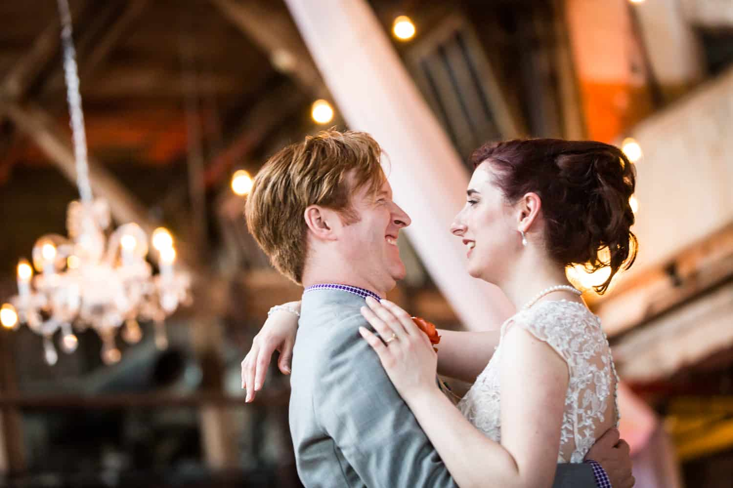 Bride and groom during first dance at a Greenpoint Loft wedding