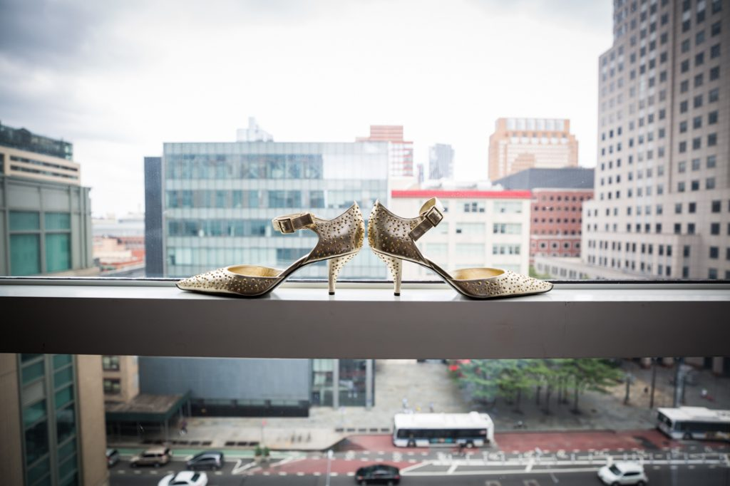 Bride's shoes for a Brooklyn Historical Society wedding