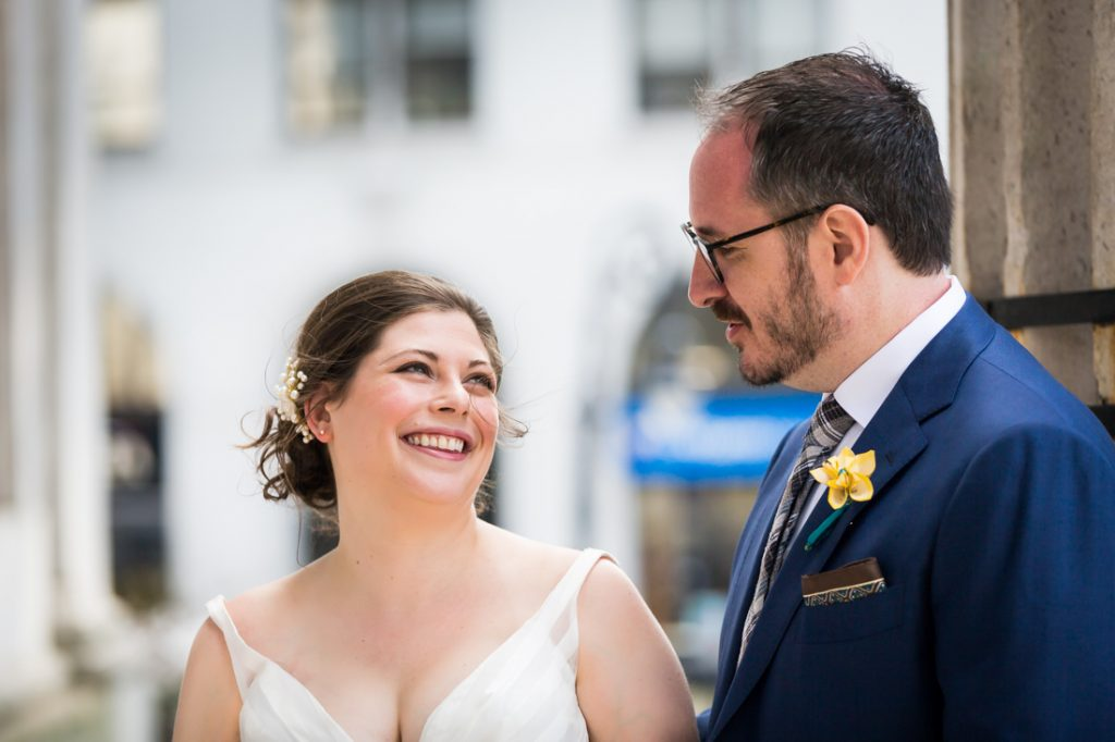 Bride and groom portraits before a Brooklyn Historical Society wedding
