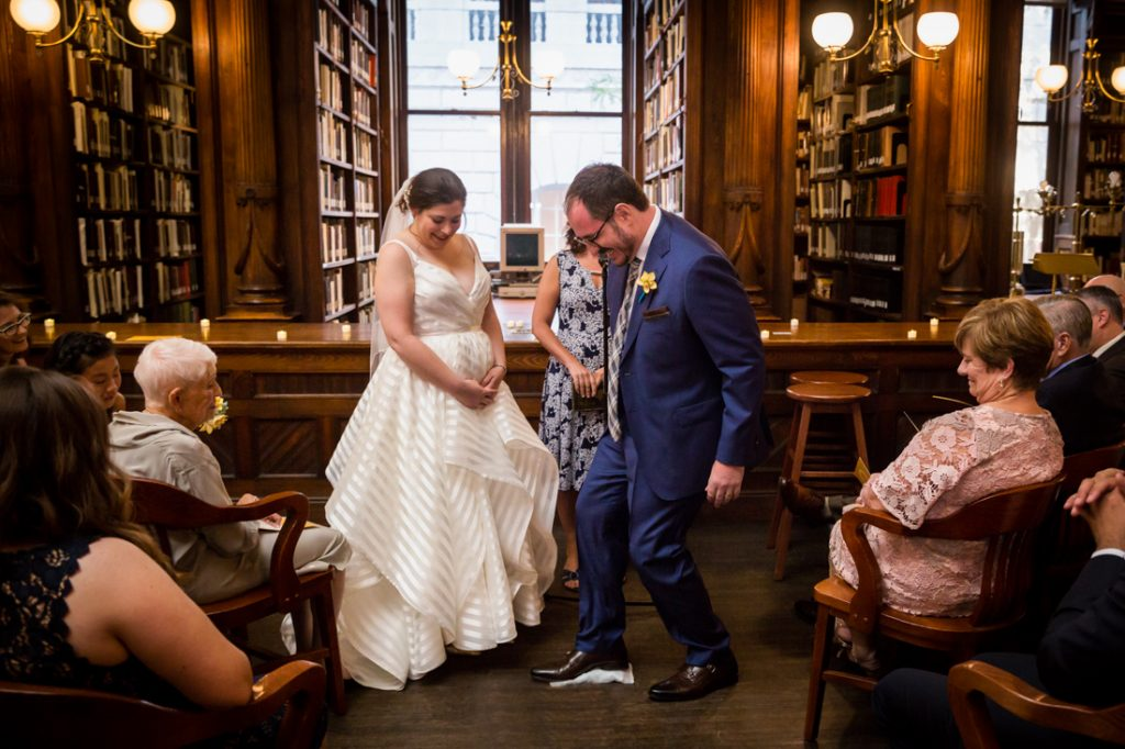 Groom breaking glass at a Brooklyn Historical Society wedding