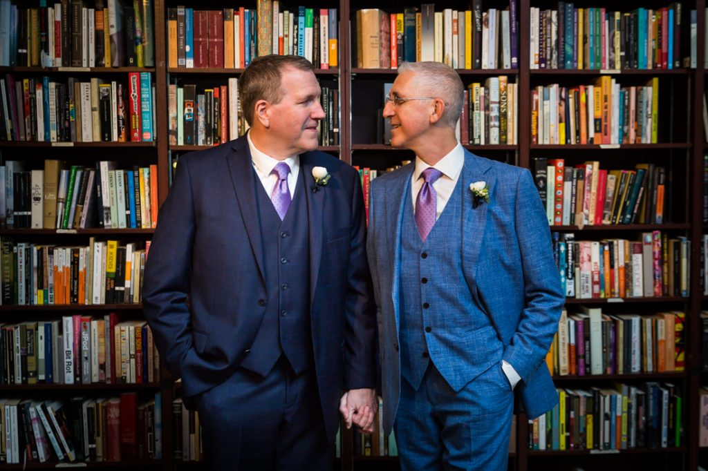 Two grooms at a Housing Works Bookstore Cafe wedding