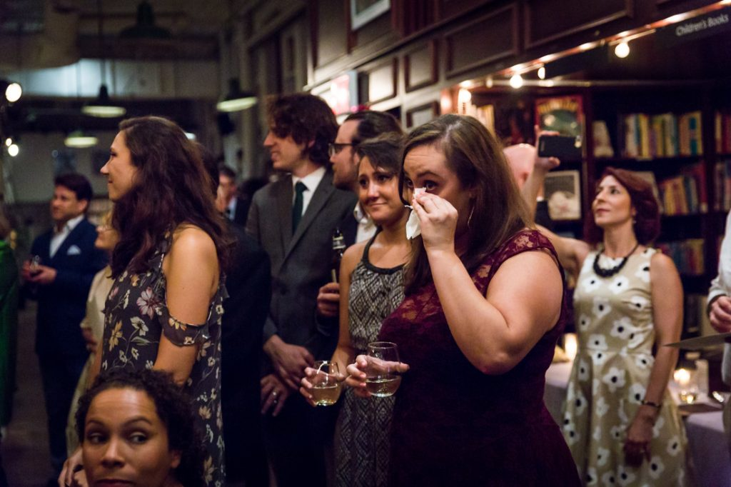 Guests crying at a Housing Works Bookstore Cafe wedding