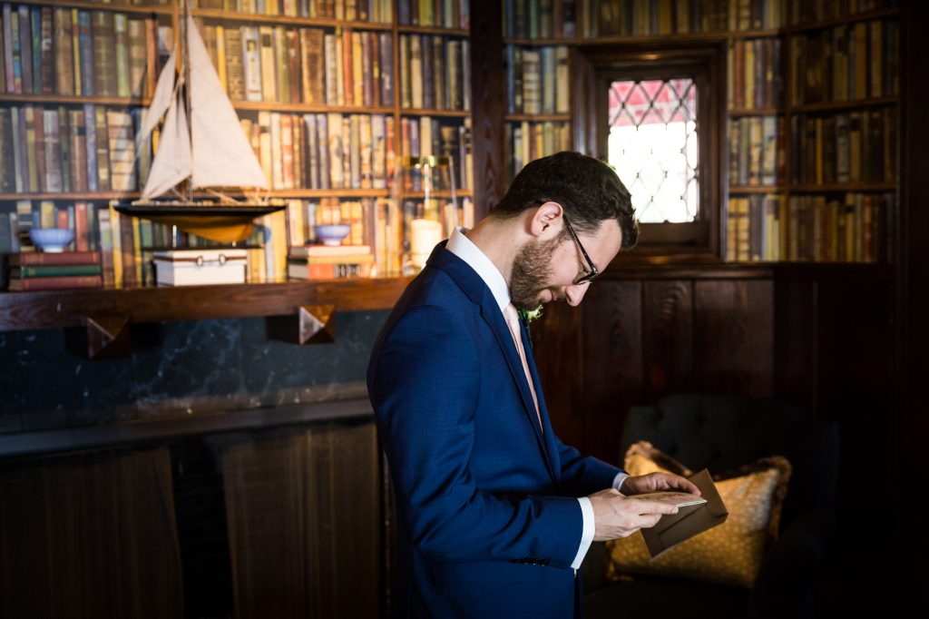 Groom reading letter at a Larchmont Shore Club wedding