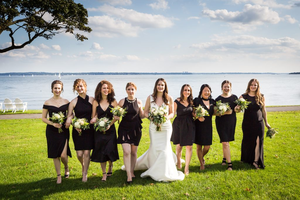 Bride and bridesmaids at a Larchmont Shore Club wedding