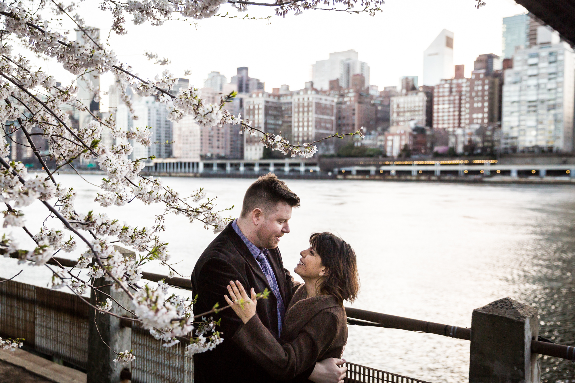 Roosevelt Island engagement portrait for an article on cherry blossom photo tips