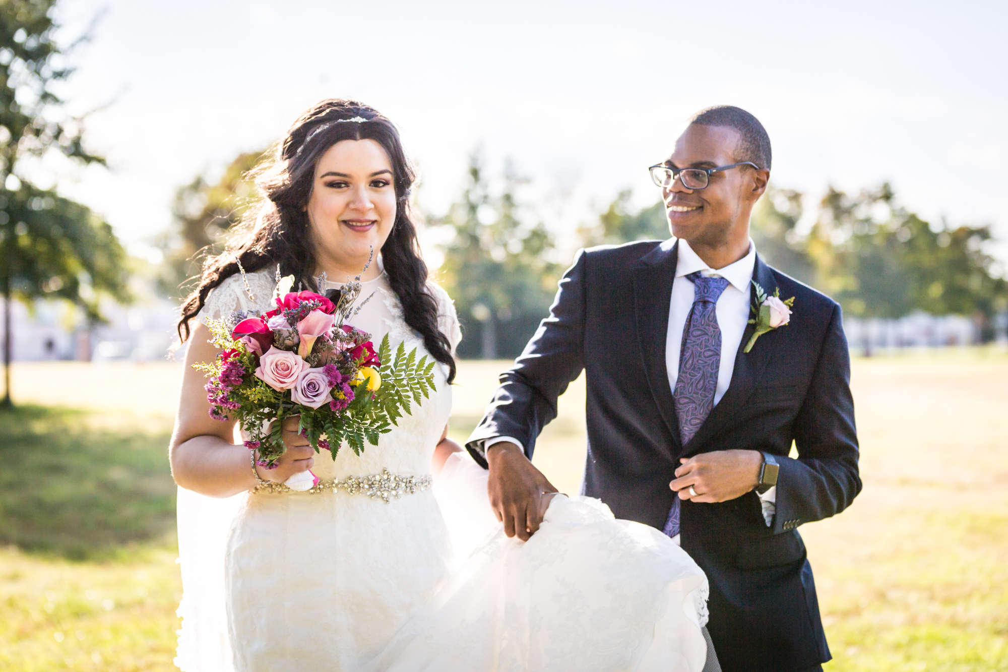 Portrait of bride and groom at park for an article on wedding photography timeline tips