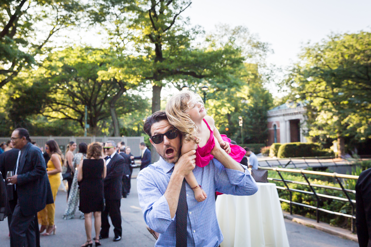 Guest and child for an article on Bronx Zoo wedding venue updates