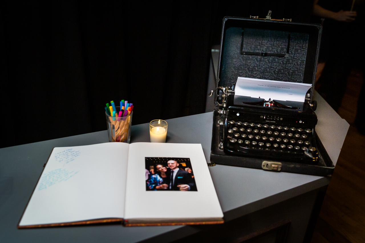 Guest book and antique typewriter for an article on non-floral centerpiece ideas