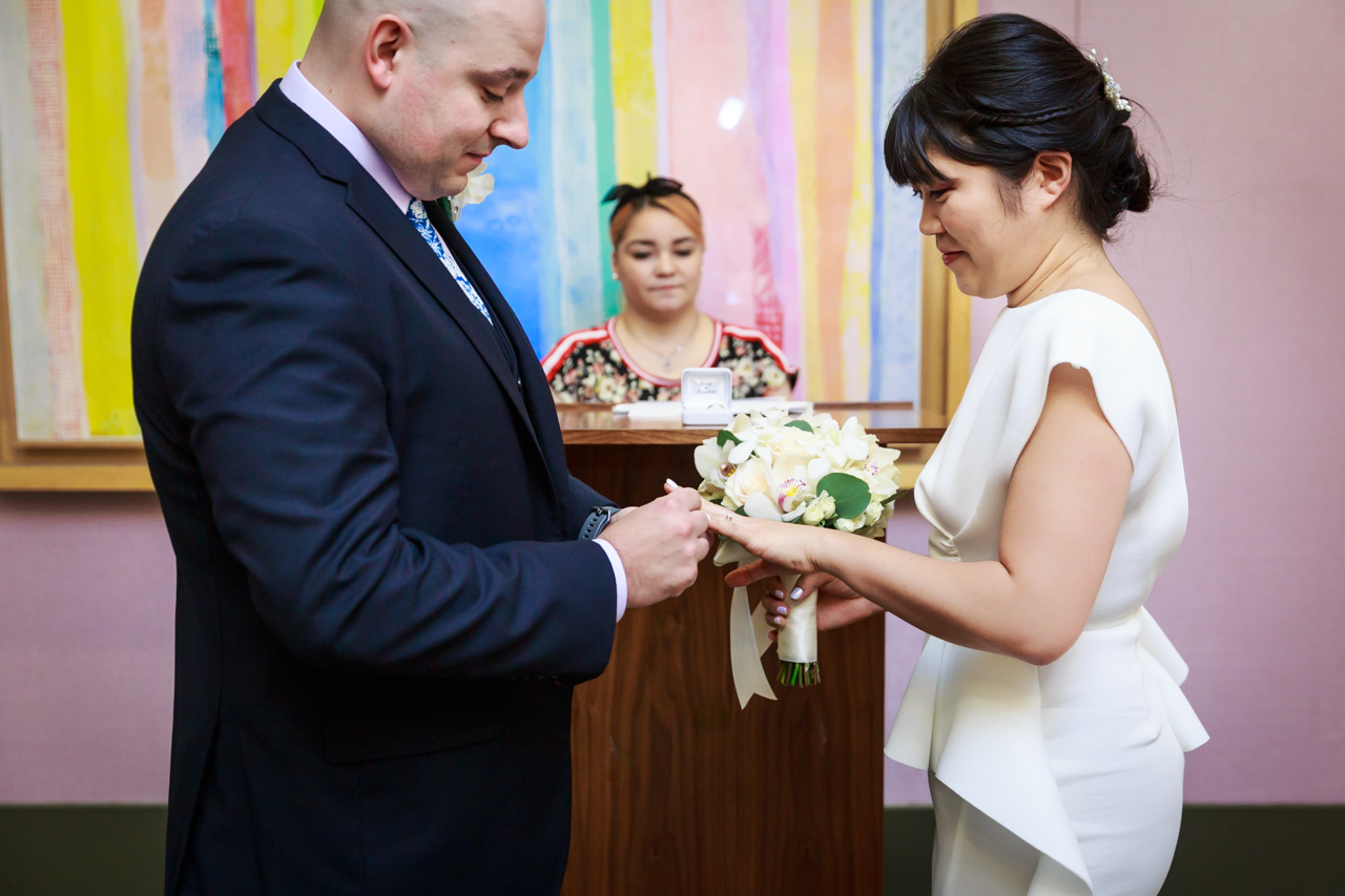 Exchange of rings at NYC City Hall wedding