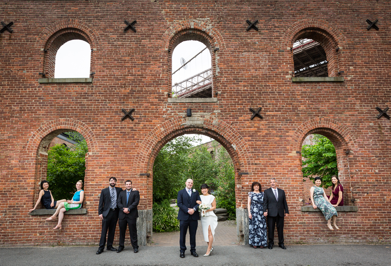 Family portrait at St. Ann's Warehouse after NYC City Hall wedding