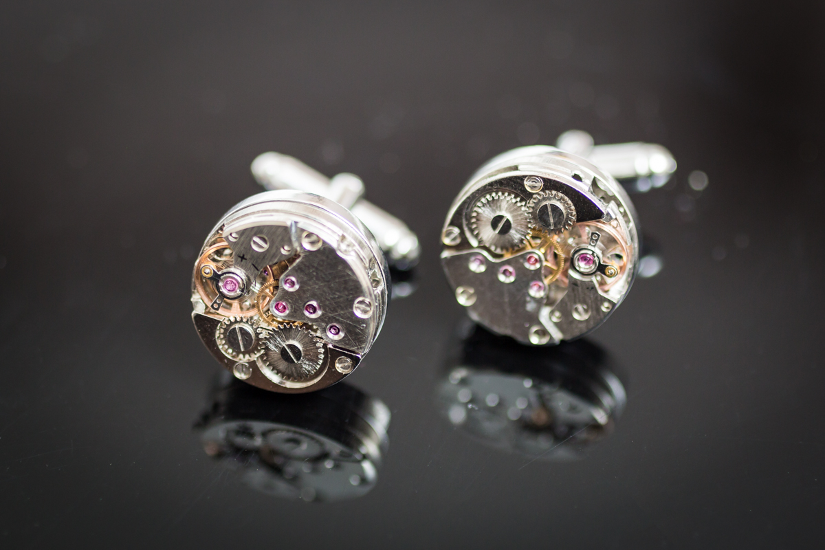 Cufflinks made from clock parts