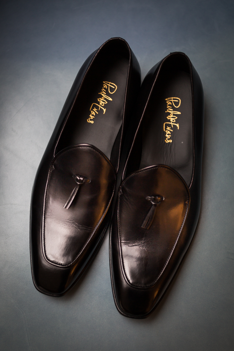 Shoes for the groom by Paul Evans before a Four Seasons Hotel New York Downtown wedding