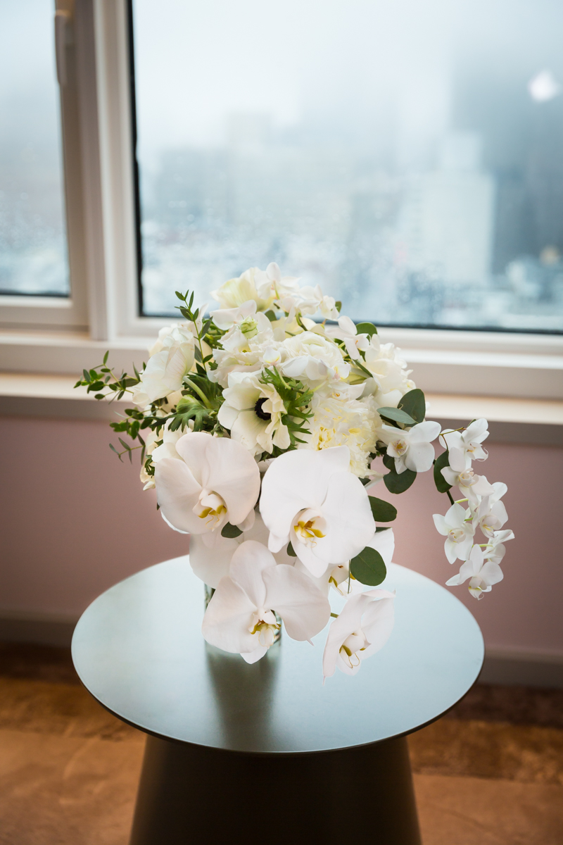 Wedding bouquet with white flowers on a table