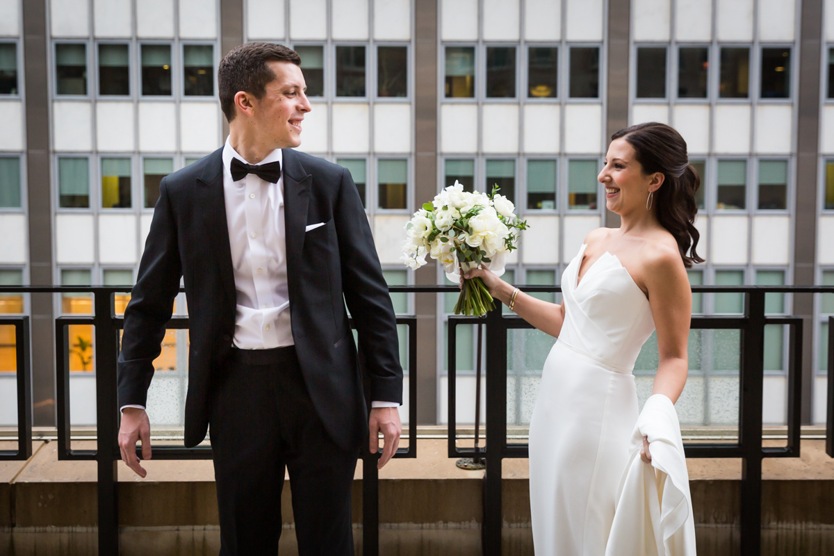 Bride and groom seeing each for the first time at first look