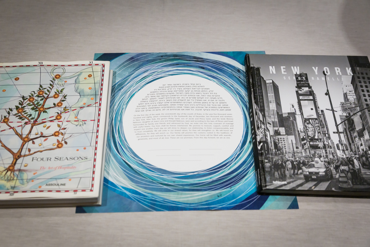 Blue and white ketubah for a Four Seasons Hotel New York Downtown wedding