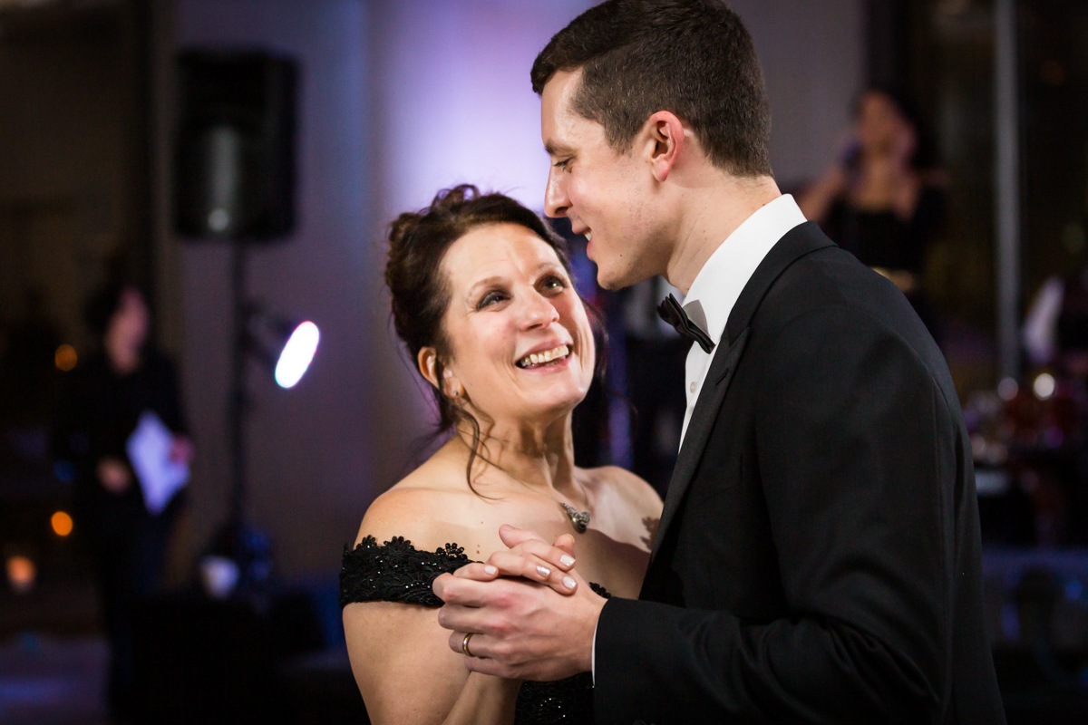 Mother-son dance at a Four Seasons Hotel New York Downtown wedding