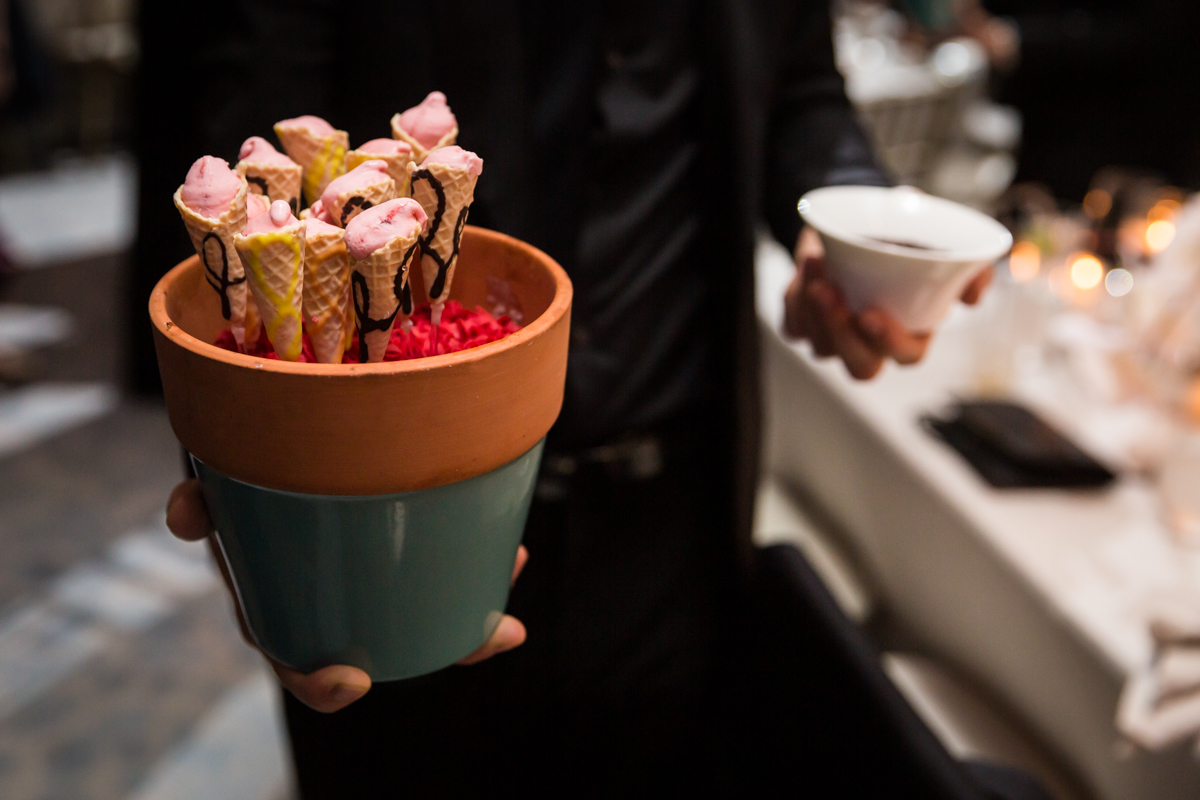 Tiny dessert ice cream cones served in terra cotta pots at a Four Seasons Hotel New York Downtown wedding