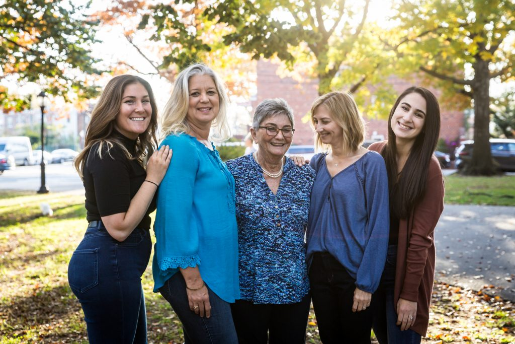 Group of five women during a Juniper Valley Park family portrait session