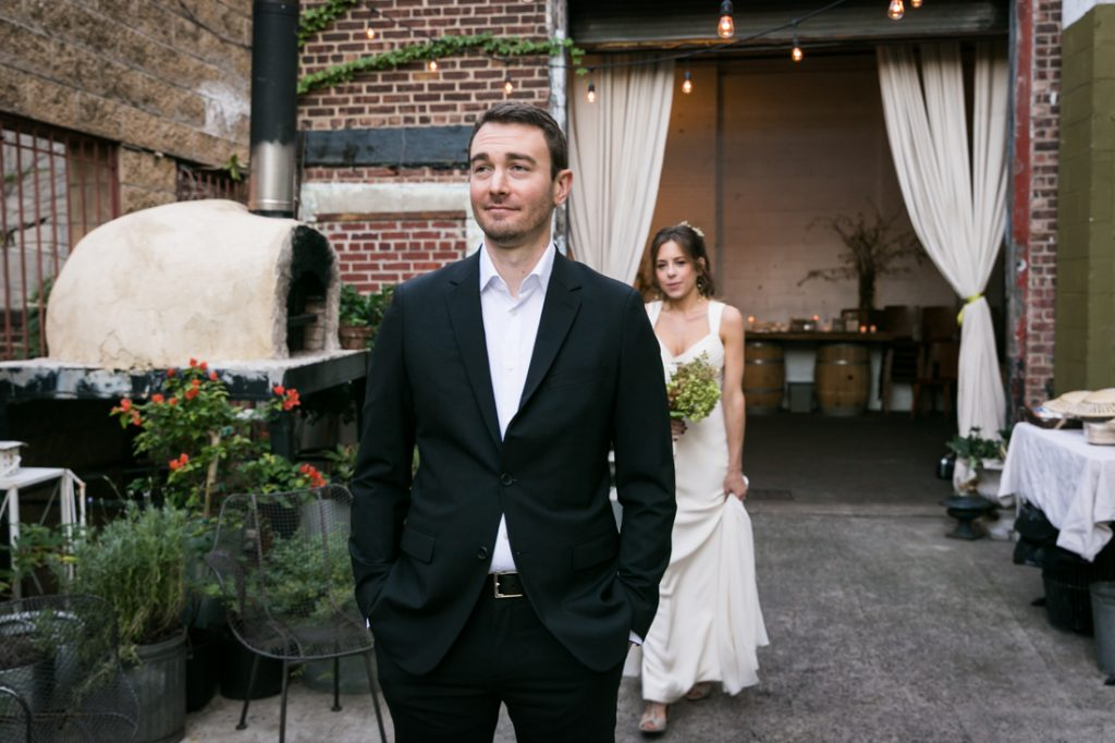 Bride and groom first look at Atelier Roquette