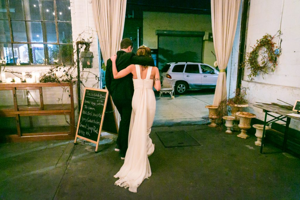 Bride and groom walking out after ceremony at an Atelier Roquette wedding
