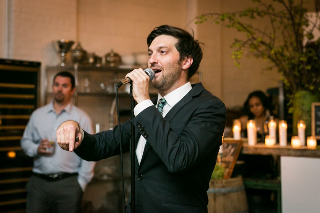 Groomsman making speech at an Atelier Roquette wedding