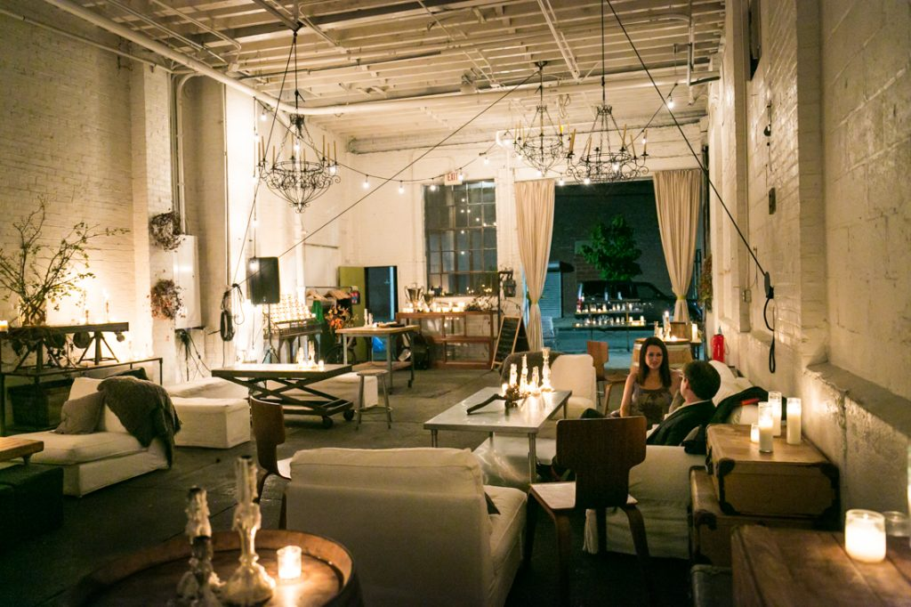 Wide shot of Atelier Roquette wedding venue with candles