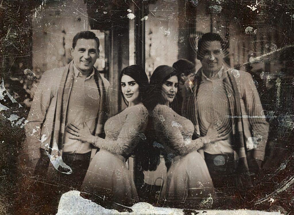 Digital tintype portraits of couple reflected in window