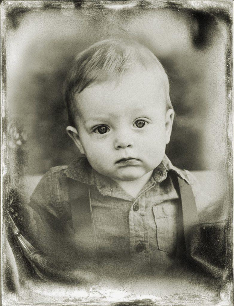 Digital tintype portrait of little boy