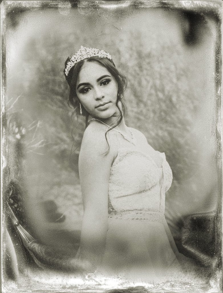 Digital tintype portrait of girl wearing ball gown and crown