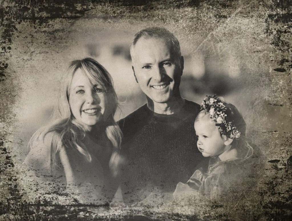 Digital tintype portraits of parents with little girl wearing flower crown
