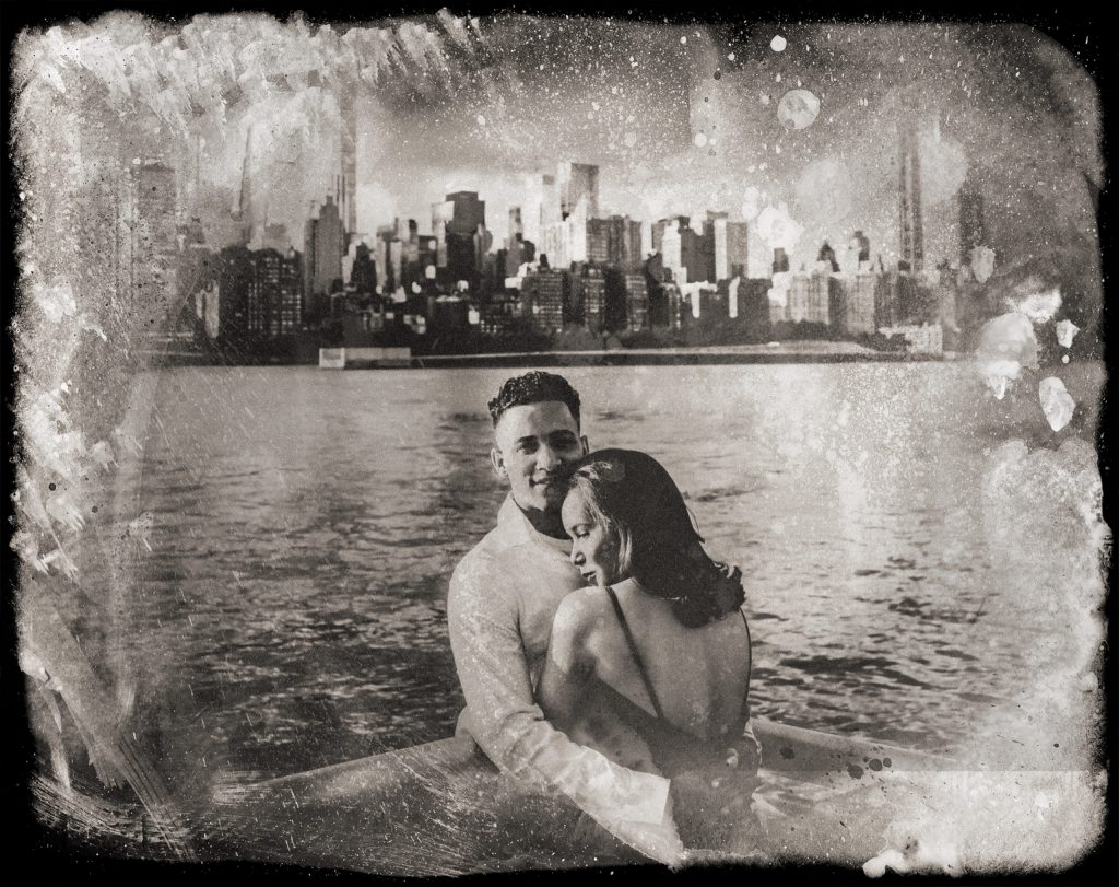 Digital tintype portraits of couple hugging in front of NYC skyline