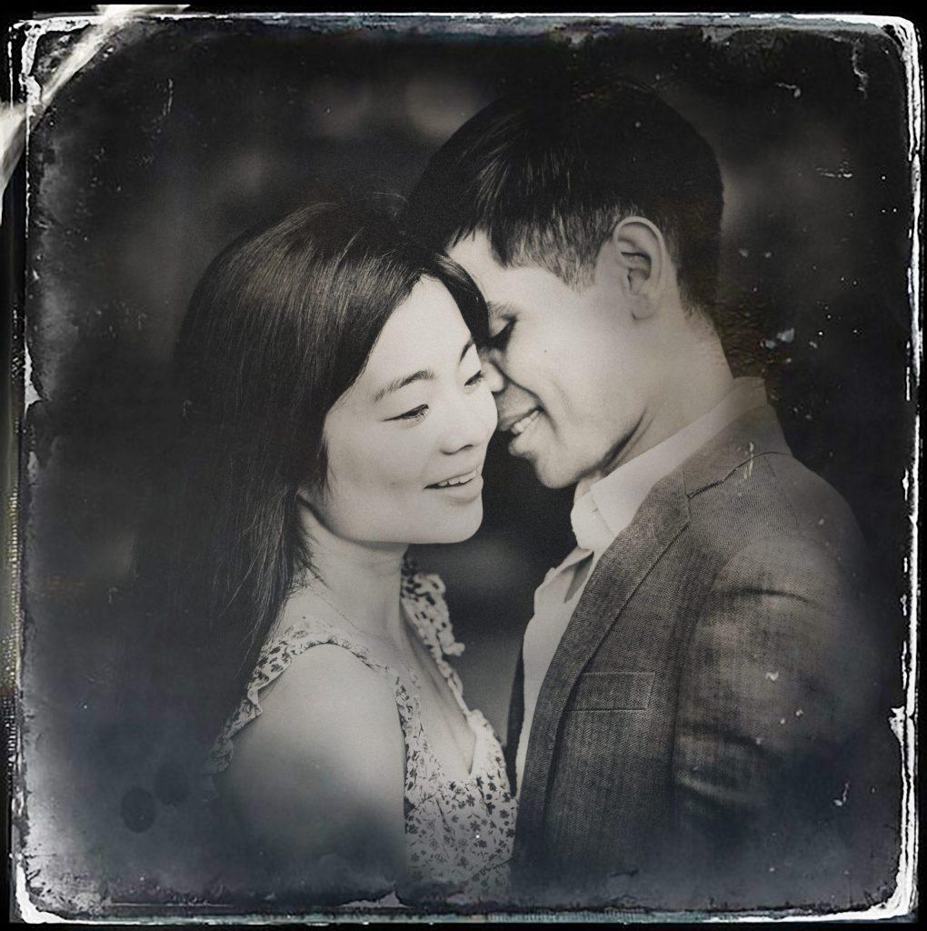 Digital tintype portraits of engaged couple