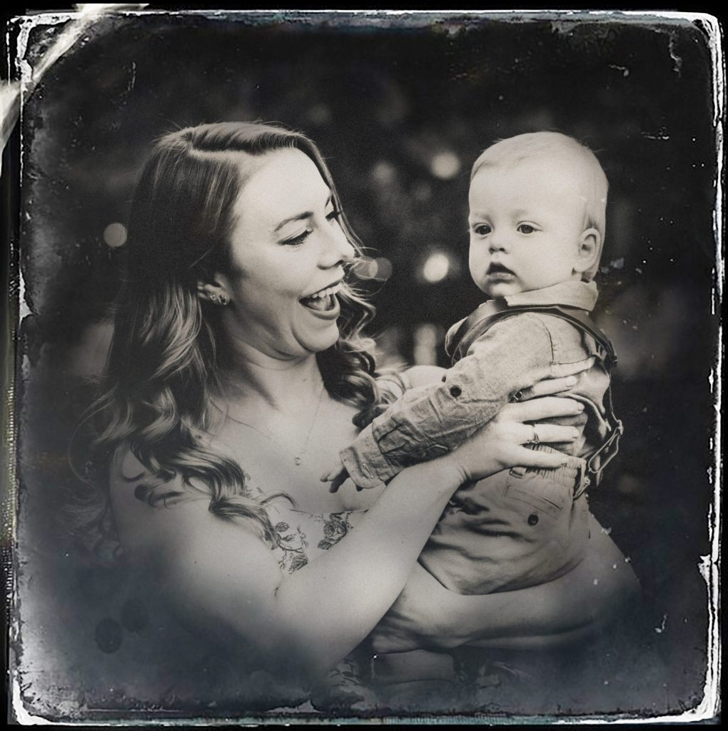 Digital tintype portraits of mother holding baby boy