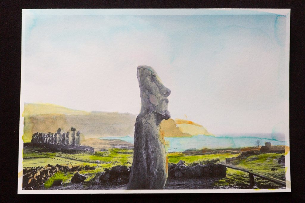 Hand-colored image of Easter Island moai