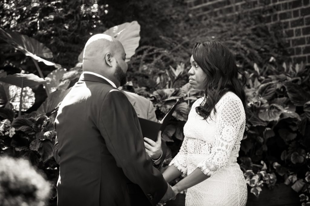 Black and white photo of bride and groom at a Kew Gardens wedding