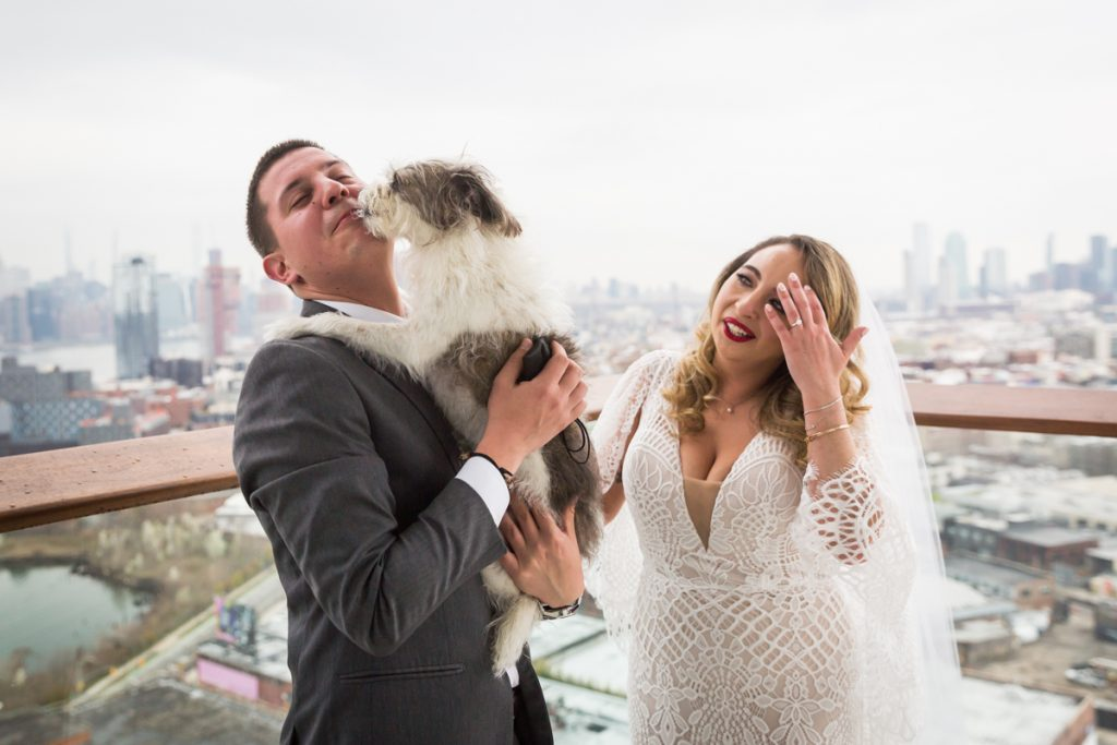 Dog licking groom with bride watching