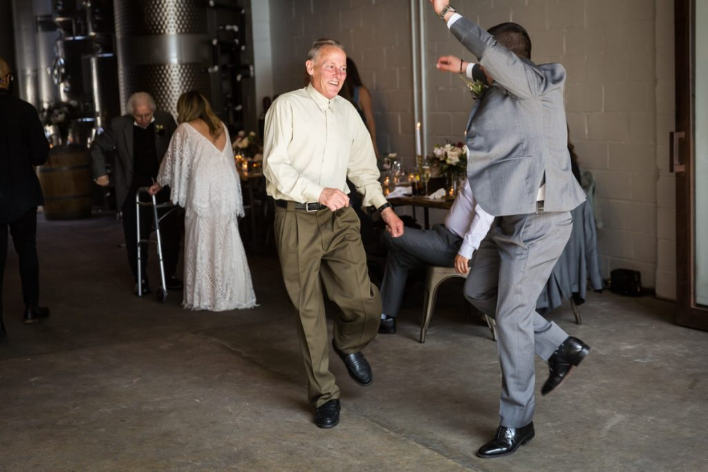 Father and son dancing during Brooklyn Winery wedding reception
