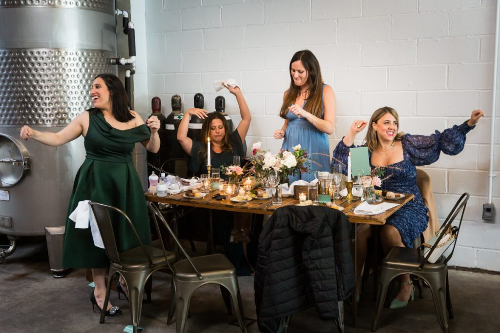 Female guests enjoying wedding reception at Brooklyn Winery