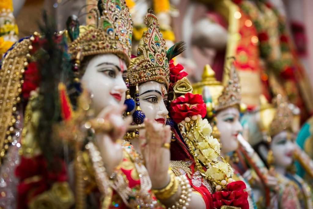 Close up of Hindu deity sculptures