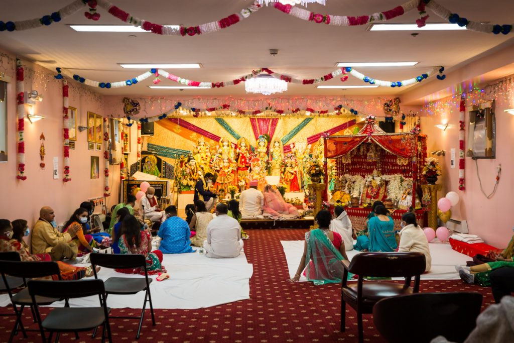 Wide shot of sanctuary for Hindu engagement ceremony