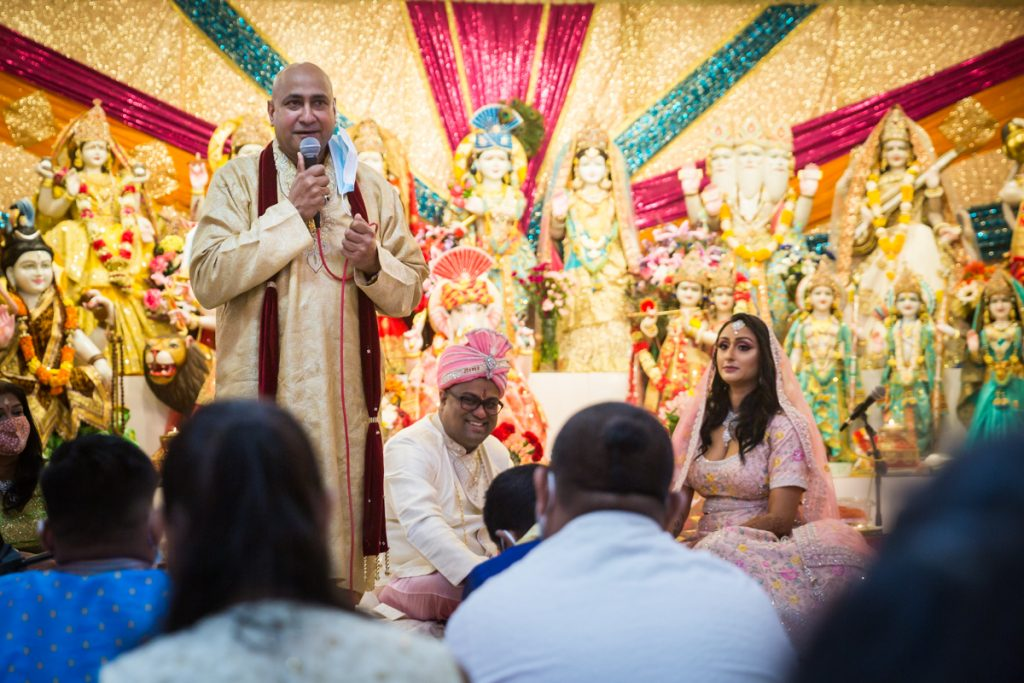 Father of bride making a speech during Hindu engagement ceremony
